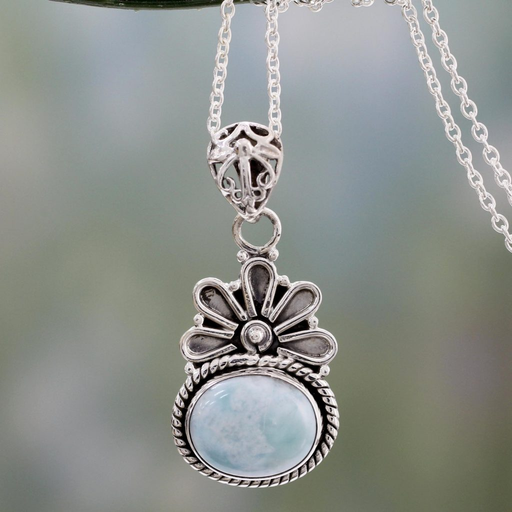 Pendant Necklace with Larimar and Sterling Silver 925, 'Heaven on Earth' NOVICA Fair Trade