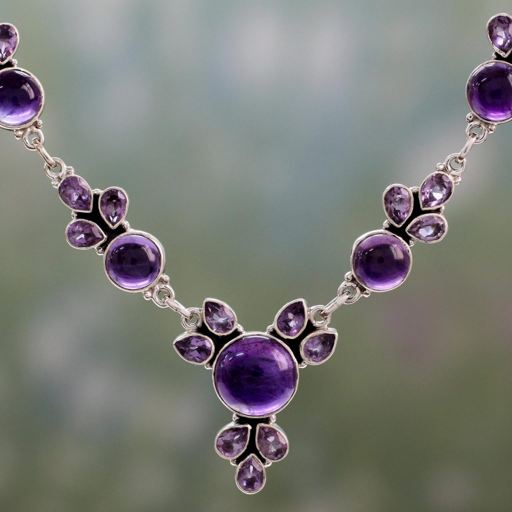 Hand Crafted Amethyst and Sterling Silver Pendant Necklace, 'Purple Lilacs' NOVICA Fair trade