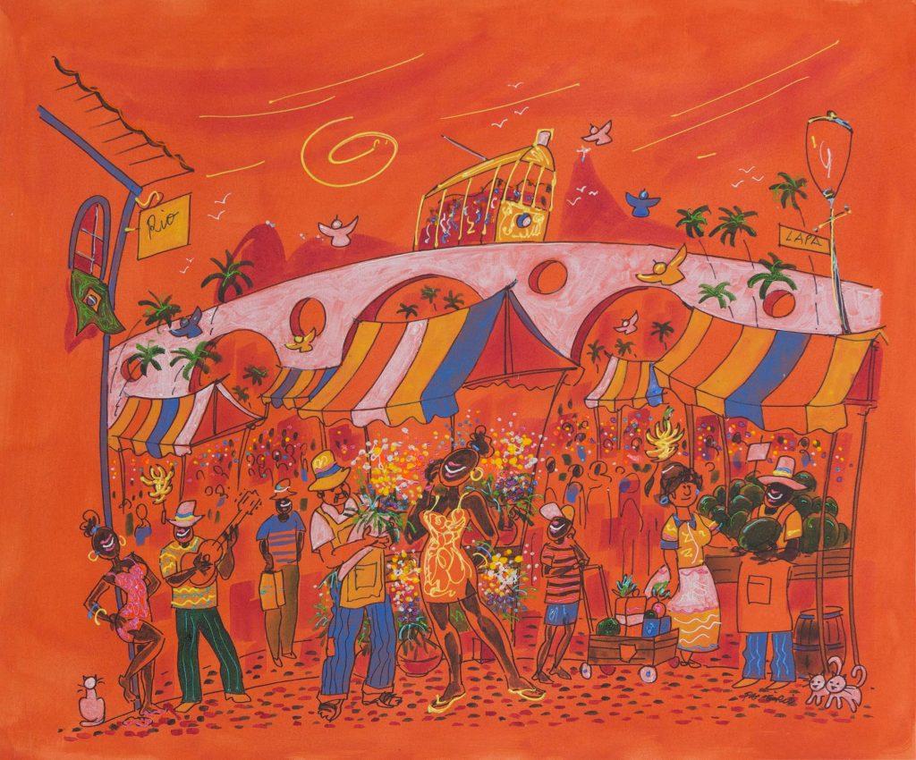 Original Brazil Fine Art Naif Painting in Orange, 'Market of Flowers' NOVICA Fine Art