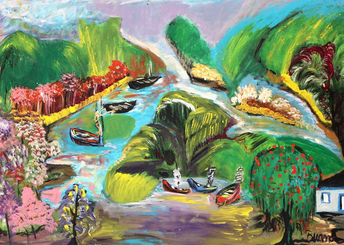 Original Painting Landscape Fine Art , 'Enchanted Nature' Naif Fine art NOVICA Fair trade