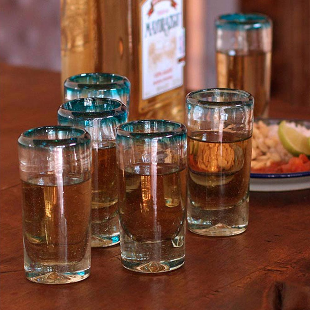 Hand Blown Mexican Tequila Shot Glasses Clear Set of 6, 'Aquamarine'