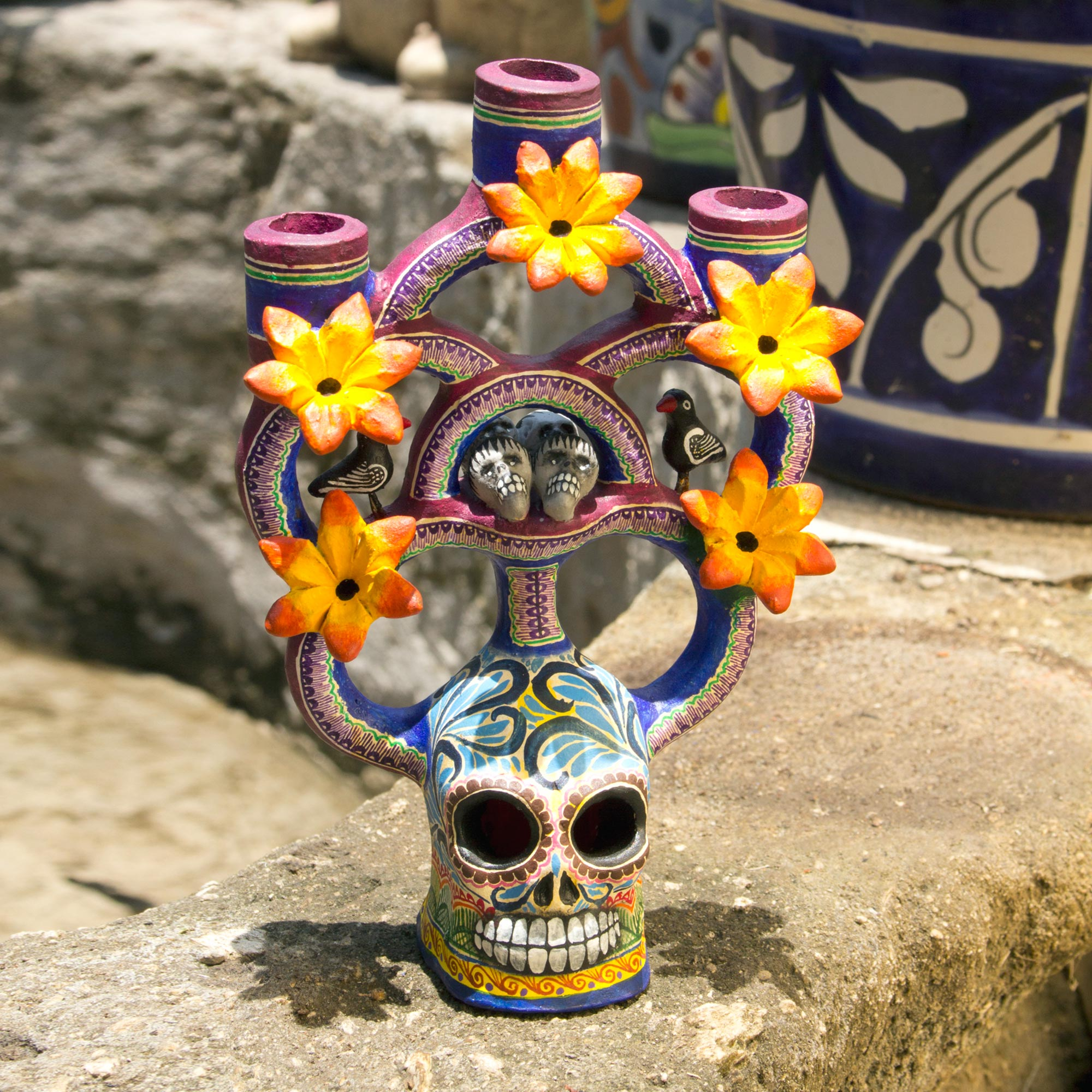 Handcrafted Floral Ceramic Day of the Dead Candle Holder, 'Day of the Dead Tree of Life'