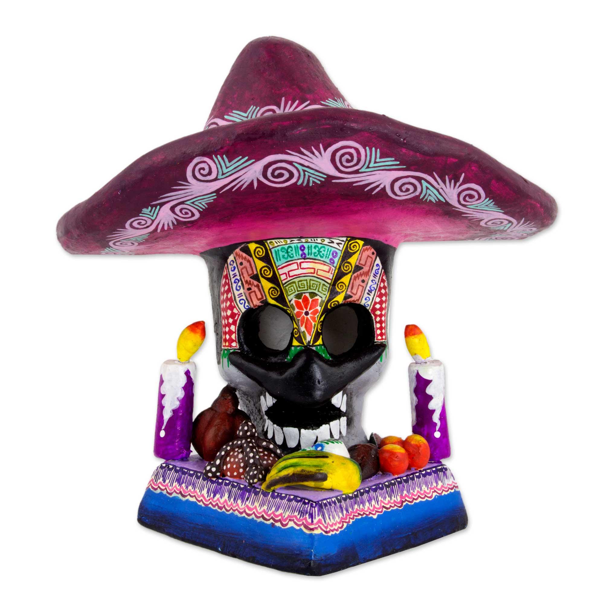Day of the Dead Mustachioed Skull Altar from Mexico, 'Sombrero Skull Altar'