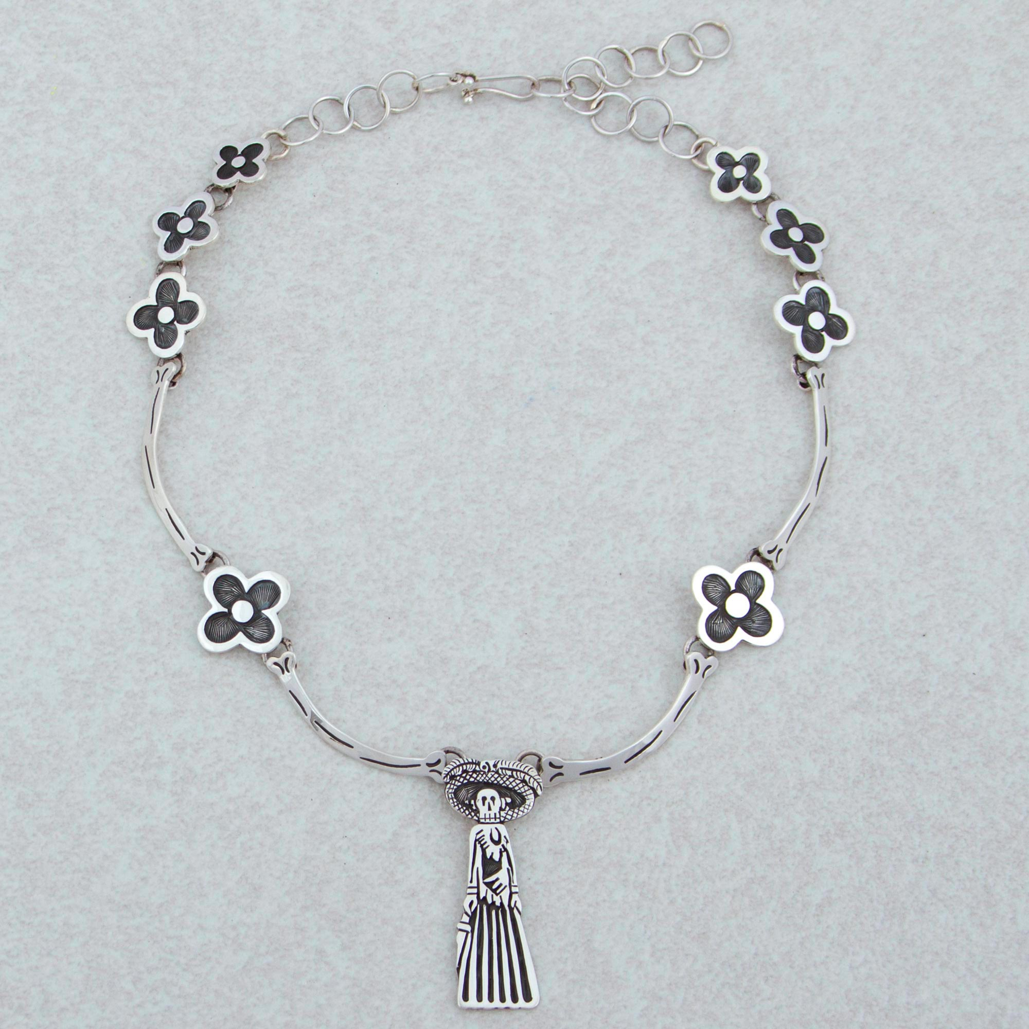 Catrina Silver Choker Day of the Dead Jewelry Collection, 'Catrina and the Flowers'