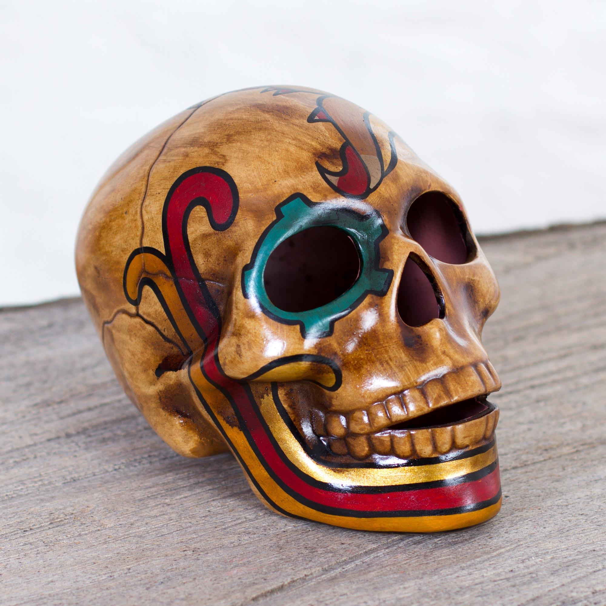 Mexican Ceramic Skull Sculpture with Quetzalcóatl, 'Quetzalcóatl'