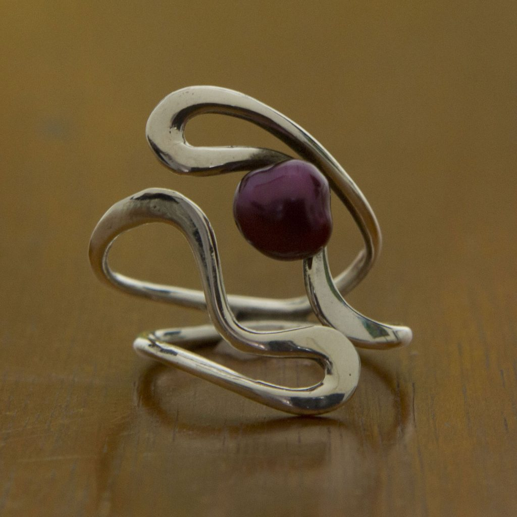 Artisan Crafted Burgundy Pearl and Sterling Silver Ring, 'Winding Paths'