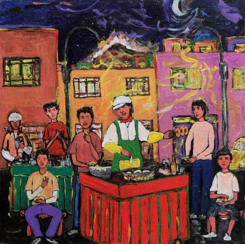 Naif Painting, 'Those Delicious Picarones' Fine Art Wall Art NOVICA Fair Trade
