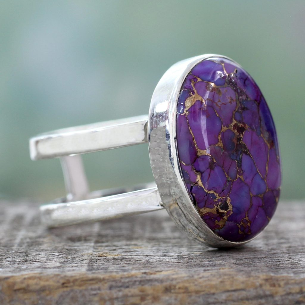 Purple Composite Turquoise Sterling Silver Ring, 'Purple Island'