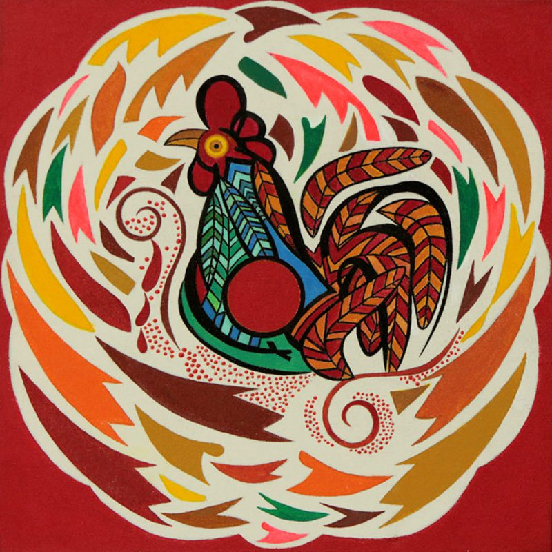 Bird Theme Colorful Naif Painting from Brazil (Stretched), 'Red Rooster' NOVICA Fair Trade Fine Art