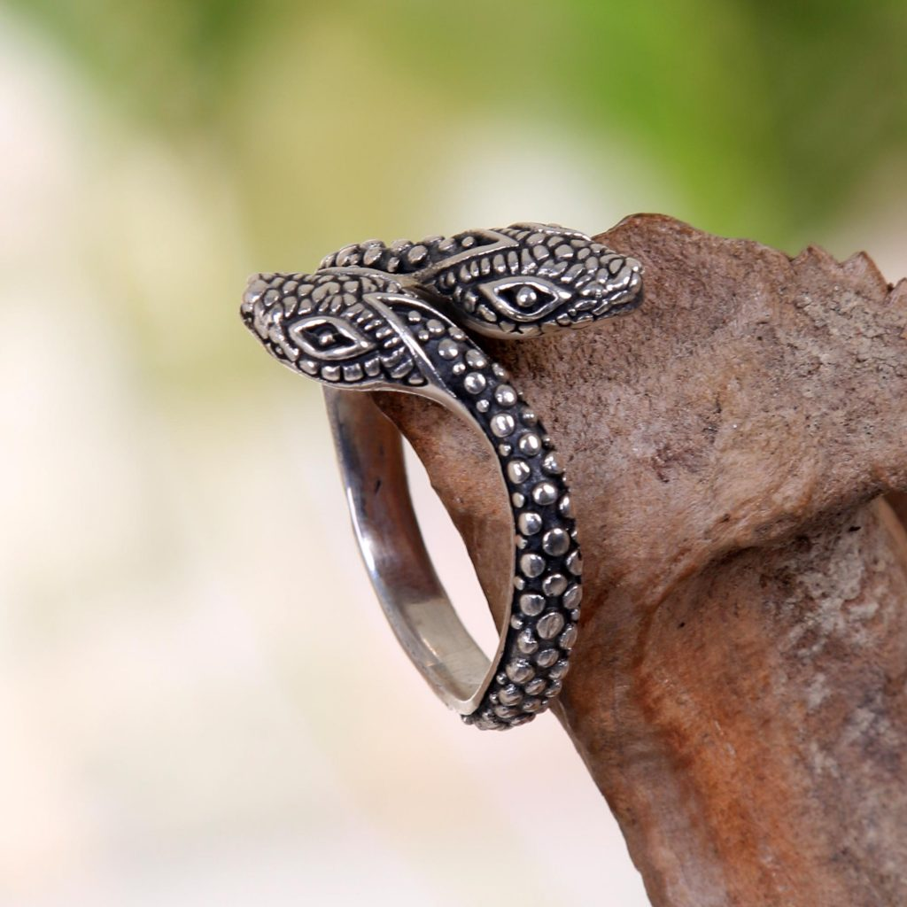Hand Made Sterling Silver Snake Wrap Ring from Indonesia, 'Infinity Snakes'