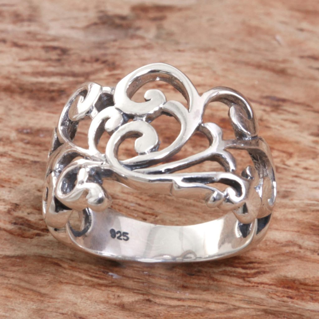 Sterling Silver Spiral Band Ring from Indonesia, 'Shiny Spirals'