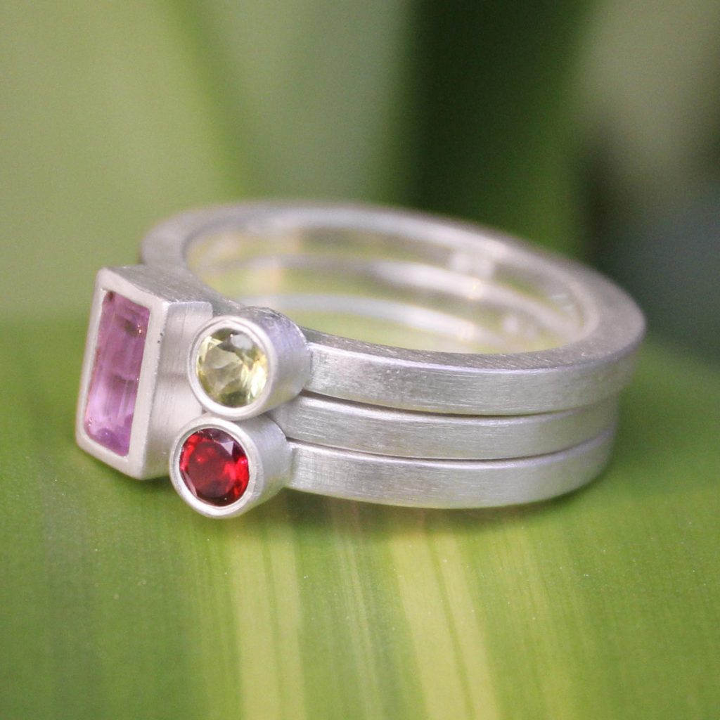 Unique Silver and Amethyst Stacking Rings (Set of 3), 'Gemstone Geometry' Sterling silver