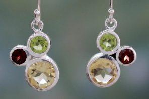 Citrine Garnet and Peridot Earrings, 'Splendid Trio'