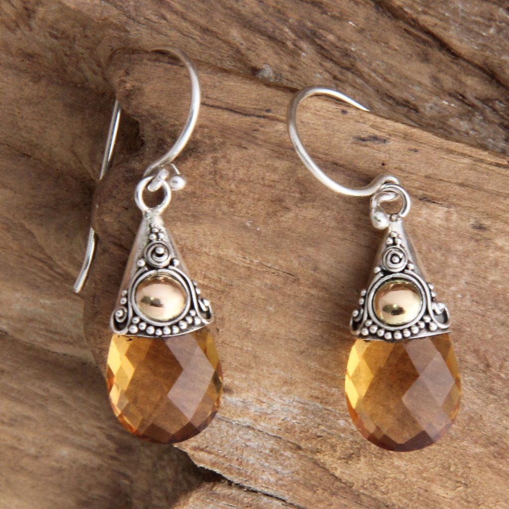 Hand Crafted Citrine and Sterling Silver Earrings, 'Sunny Glow' NOVICA Fair trade