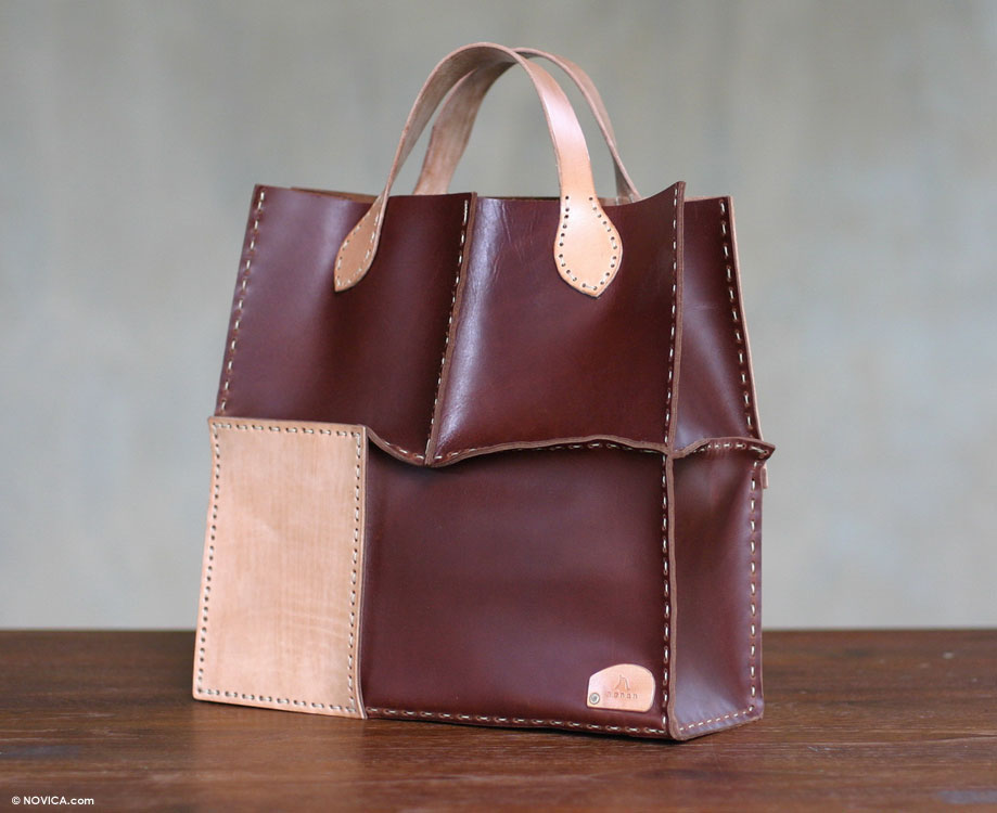 Leather Tote Handbag from Indonesia, 'Urban Safari in Dark Brown'