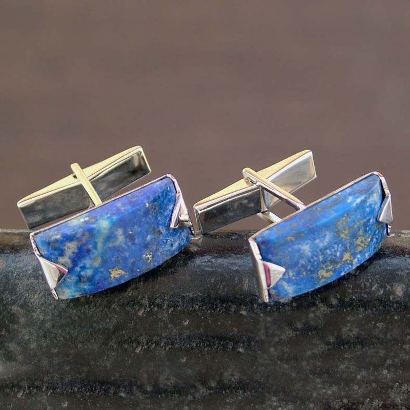 Modern Sterling Silver Lapis Lazuli Cufflinks Blue Intensity