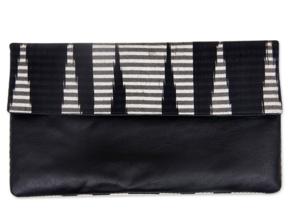 Hand Painted Cotton Clutch with Black Leather, 'Black Desert'