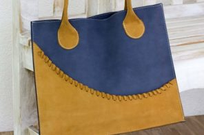 Artisan Crafted Yellow and Blue Leather Open Tote Bag, 'Wave of Yellow'