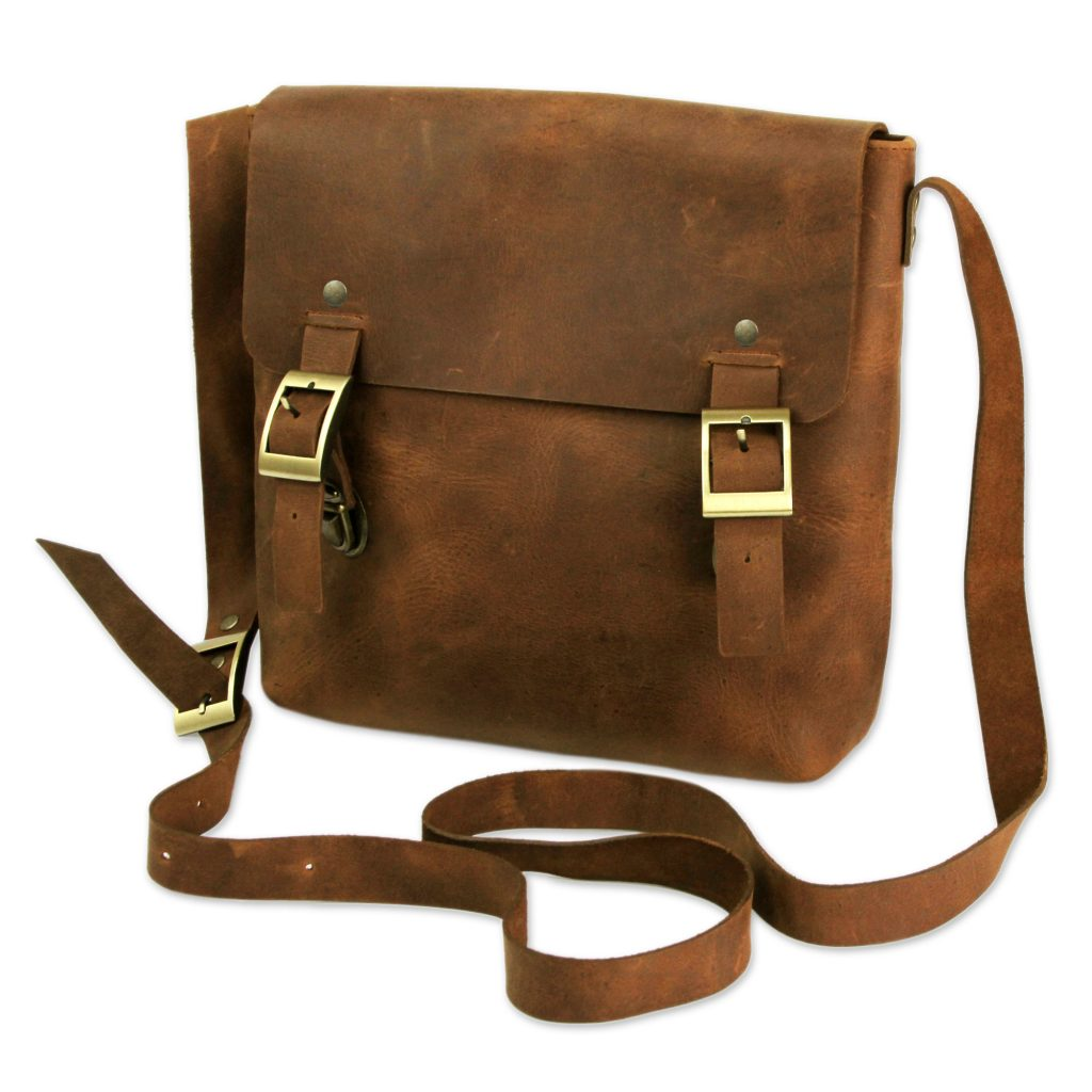 Brown Leather Men's Messenger Bag, 'Explorer' Shoulder Tablet Bag Artisan Handcrafted NOVICA Fair Trade