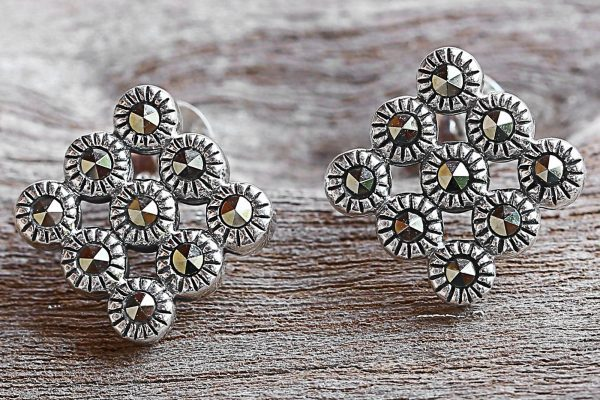 Marcasite and Sterling Silver Button Earrings from Thailand, 'Looking Good'