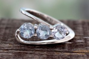 Handcrafted Blue Topaz Three-Stone Silver Ring, 'Celestial Trio'