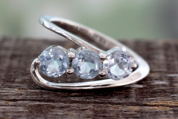 Handcrafted Blue Topaz Three-Stone Silver Ring, 'Celestial Trio'