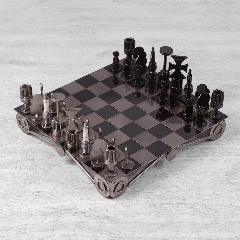 Auto part chess set Recycling Challenge metal recycled pieces eco-friendly men's gifts NOVICA Fair trade