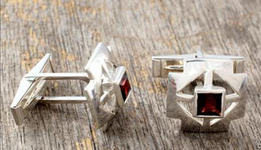 Sterling-Silver Garnet Cufflinks Men's Jewelry Cross Handcrafted NOVICA Fair Trade
