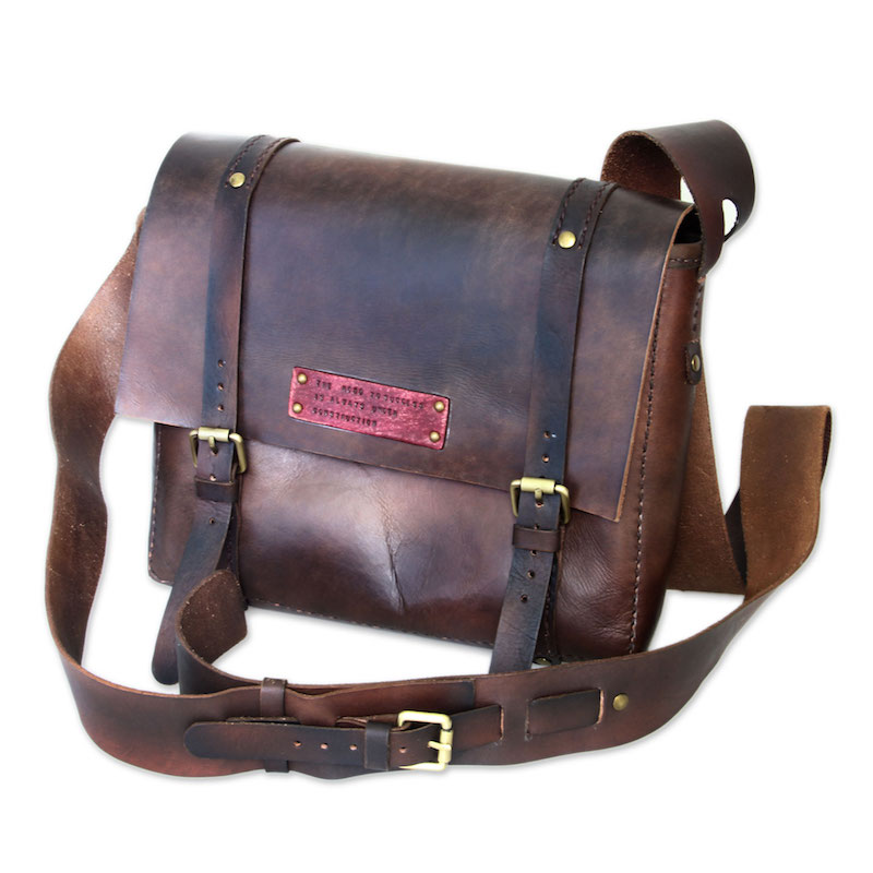 Handmade Brown Leather Messenger Bag , 'The Road to Success'