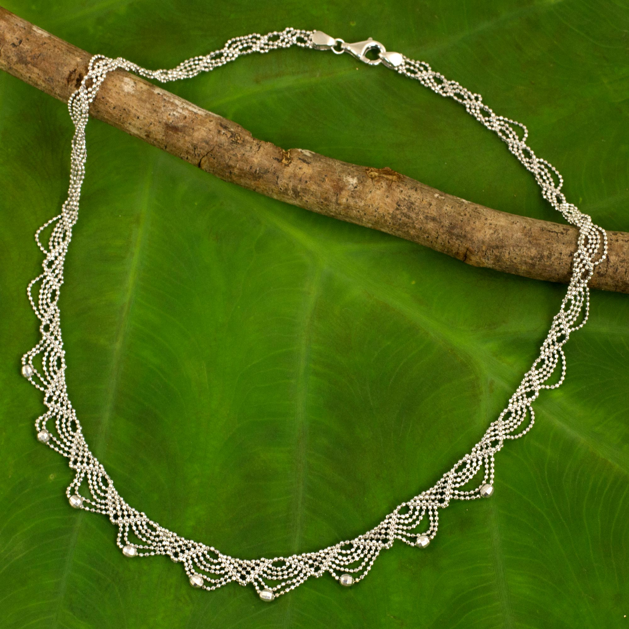 Collar Choker 16 inch Lacy Sterling Silver Necklace Crafted from Ball Chain, 'Deco Lace' NOVICA Fair Trade