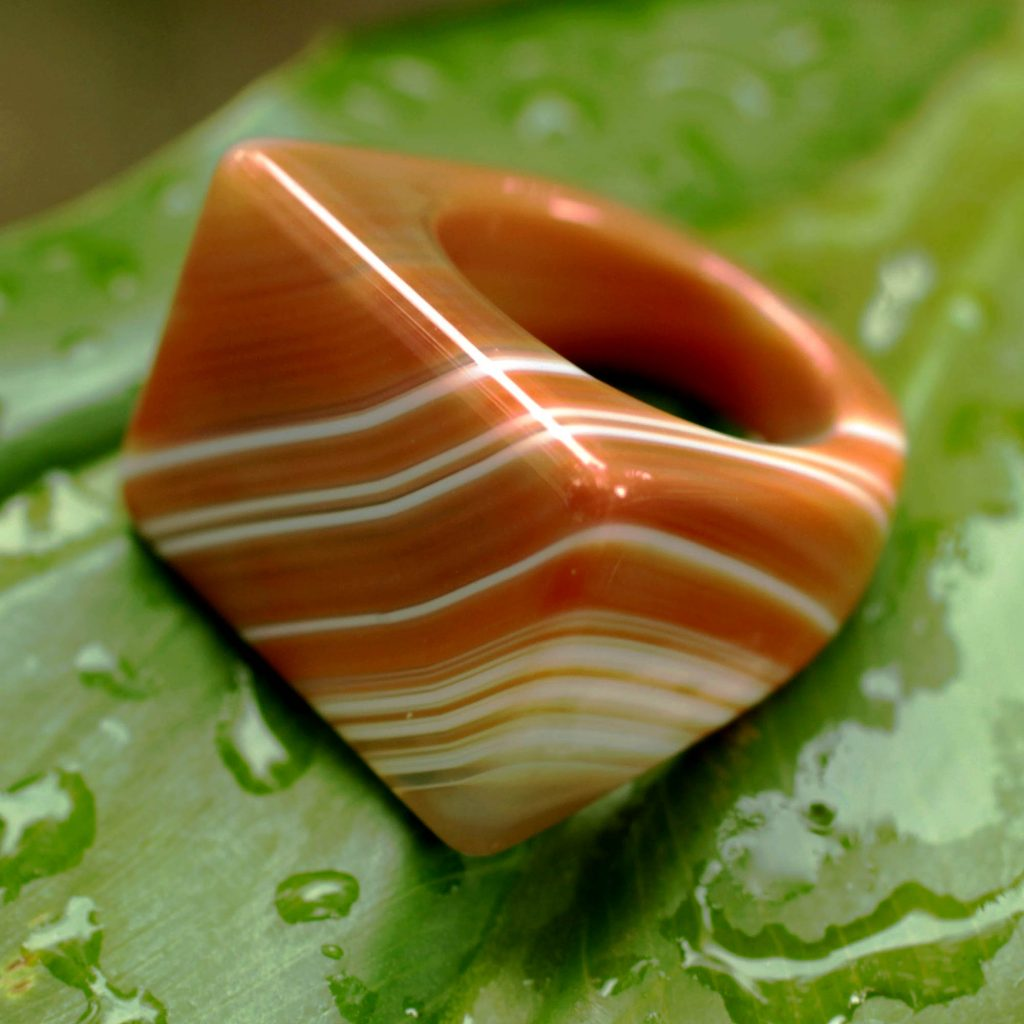 Handcrafted Good Fortune Rio Agate Cocktail Ring, 'Caramel Sunset'