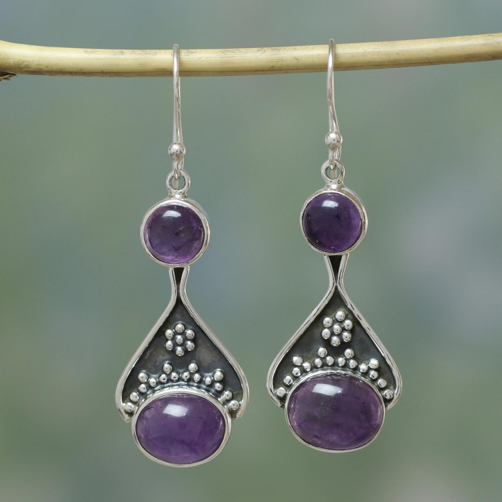 India Floral Jewelry Sterling Silver and Amethyst Earrings, 'Renewal'