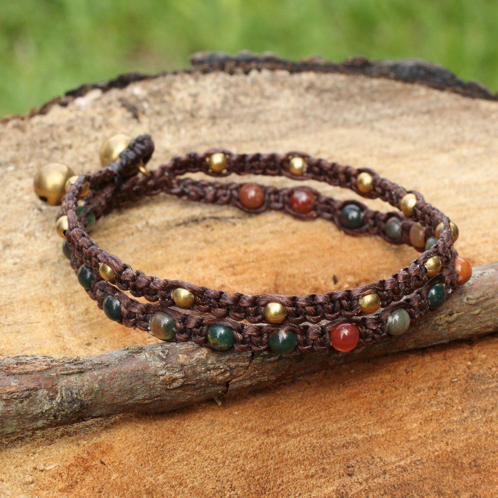 Brass Wrap Bracelet Green Brown Gems Braided Jewelry, 'Green Boho Chic' Crocheted Beaded NOVICA Fair Trade Original Art