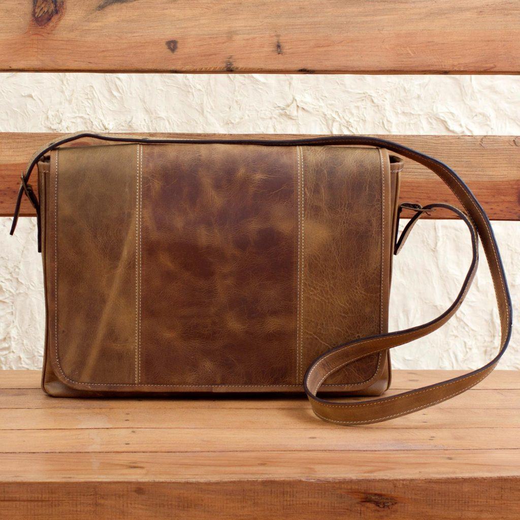 Distressed Brown Leather Boho Style Laptop Case with Pockets, 'Bohemian VIP' Messenger Bag Shoulder Bag Sling Bag NOVICA Fair Trade