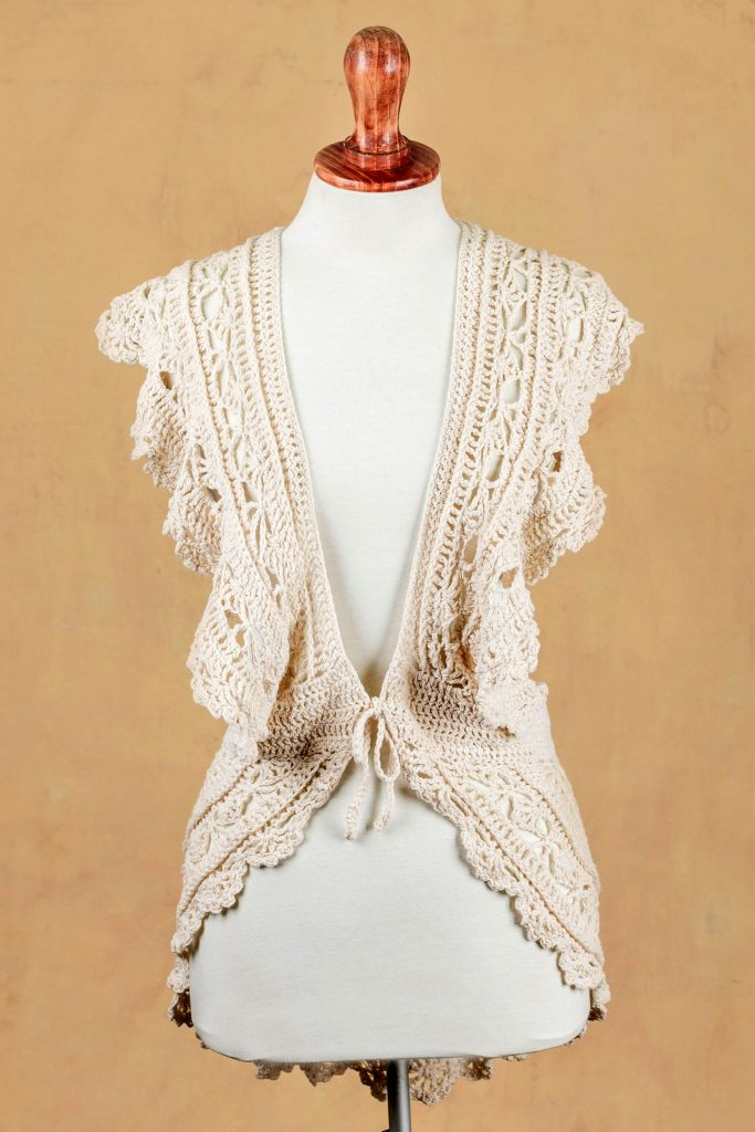 Boho Style Vest Hand-crocheted Pima Cotton Top from Peru, 'Arequipa Charm' NOVICA Fair Trade