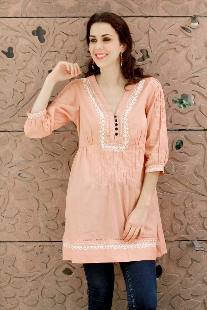 Cotton Boho Tunic Blouse with White Embroidery, 'Peach Muse'