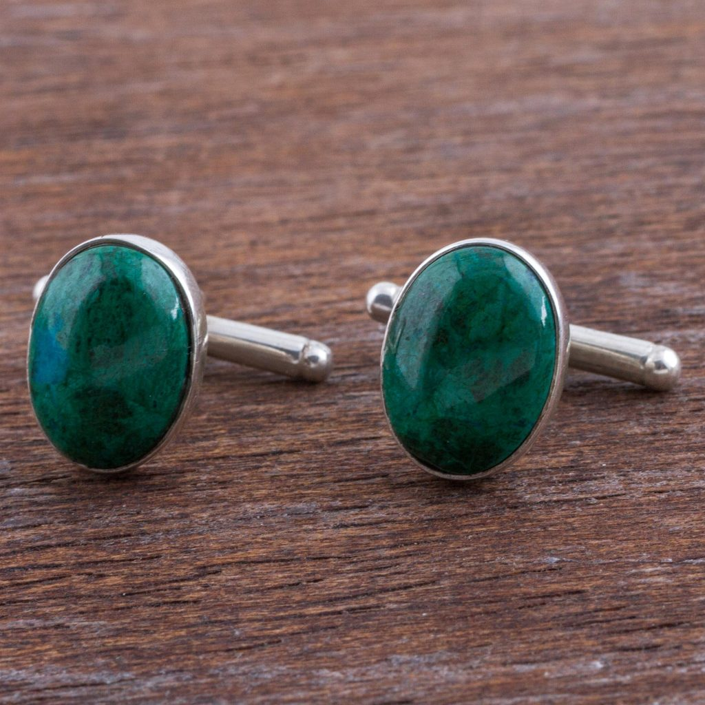 Sterling Silver and Chrysocolla Cufflinks from Peru, 'Oval Green'