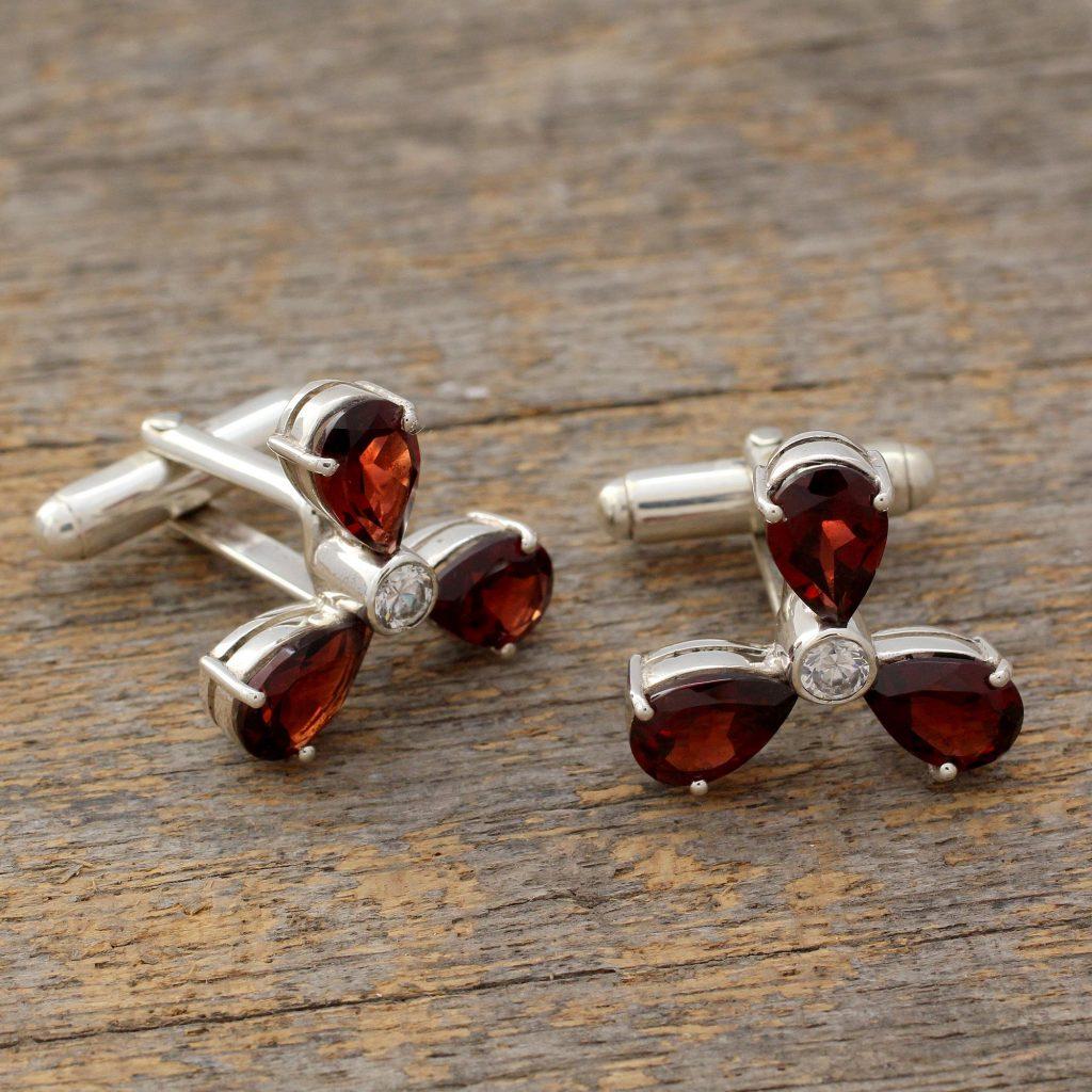 Men's Sterling Silver Cubic Zirconia Garnet Cufflinks, 'Bold Scarlet'