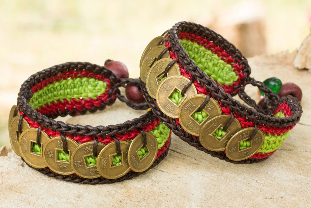Hand Crafted Good Fortune Wristband Bracelets Pair Coins of Harmony Chinese Brass Coin replicas Thailand Hamrony Good Luck Fair Trade