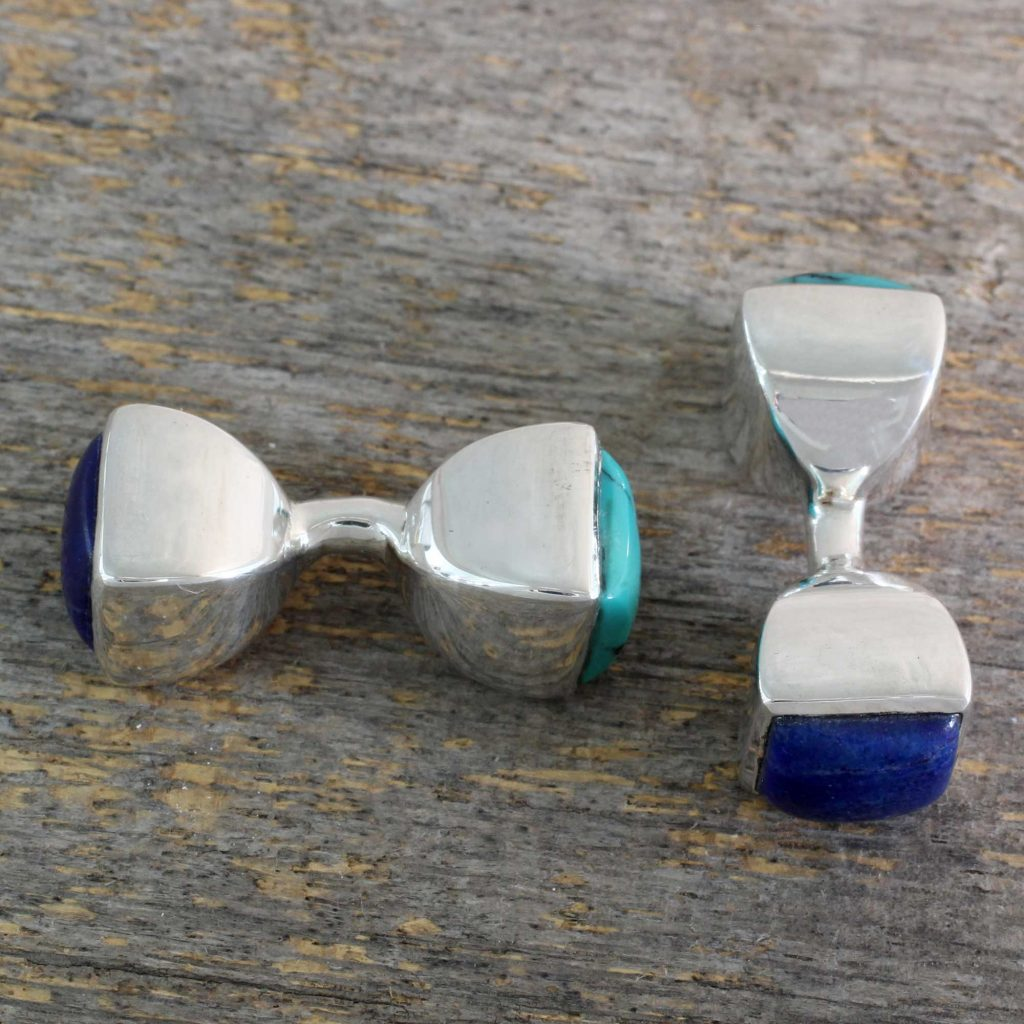 Lapis Lazuli and Turquoise Silver Cufflinks from India, 'Dreamer'