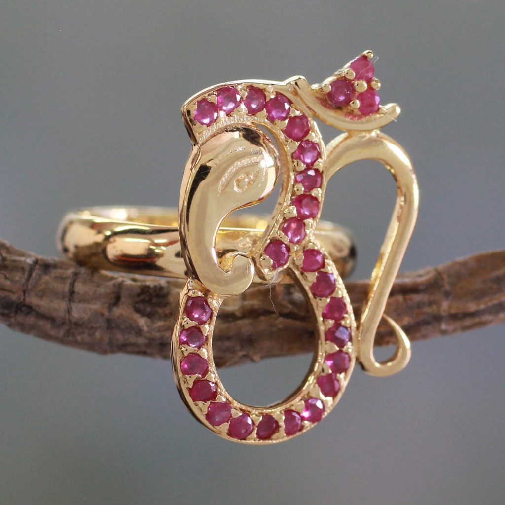 Ruby and Gold Vermeil Ring, 'Ganesha's Om' Ohm Hand Crafted