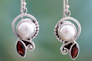 Pearl Garnet Earrings in Sterling Silver Jewelry, 'Sublime Romance'