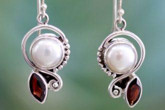 Pearl Garnet Earrings in Sterling Silver Jewelry, 'Sublime Romance'