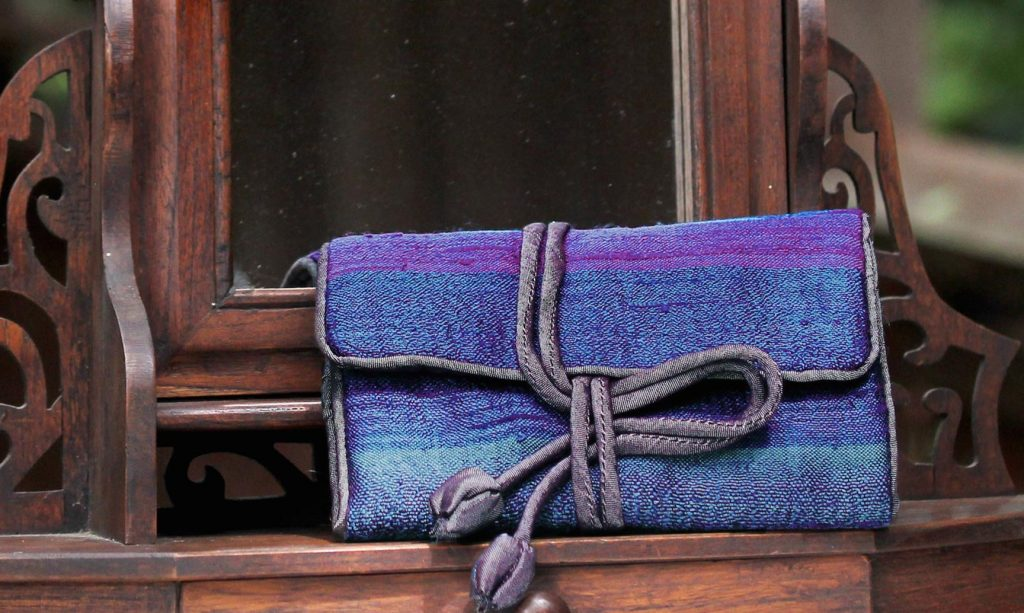Handwoven Blue Striped Jewelry Roll from Thailand, 'Happy Travels in Blue'