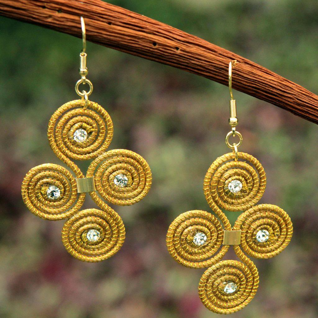 Artisan Crafted Golden Grass Hook Earrings From Brazil Hypnotic Jalapão Dangle Original Fair Trade NOVICA