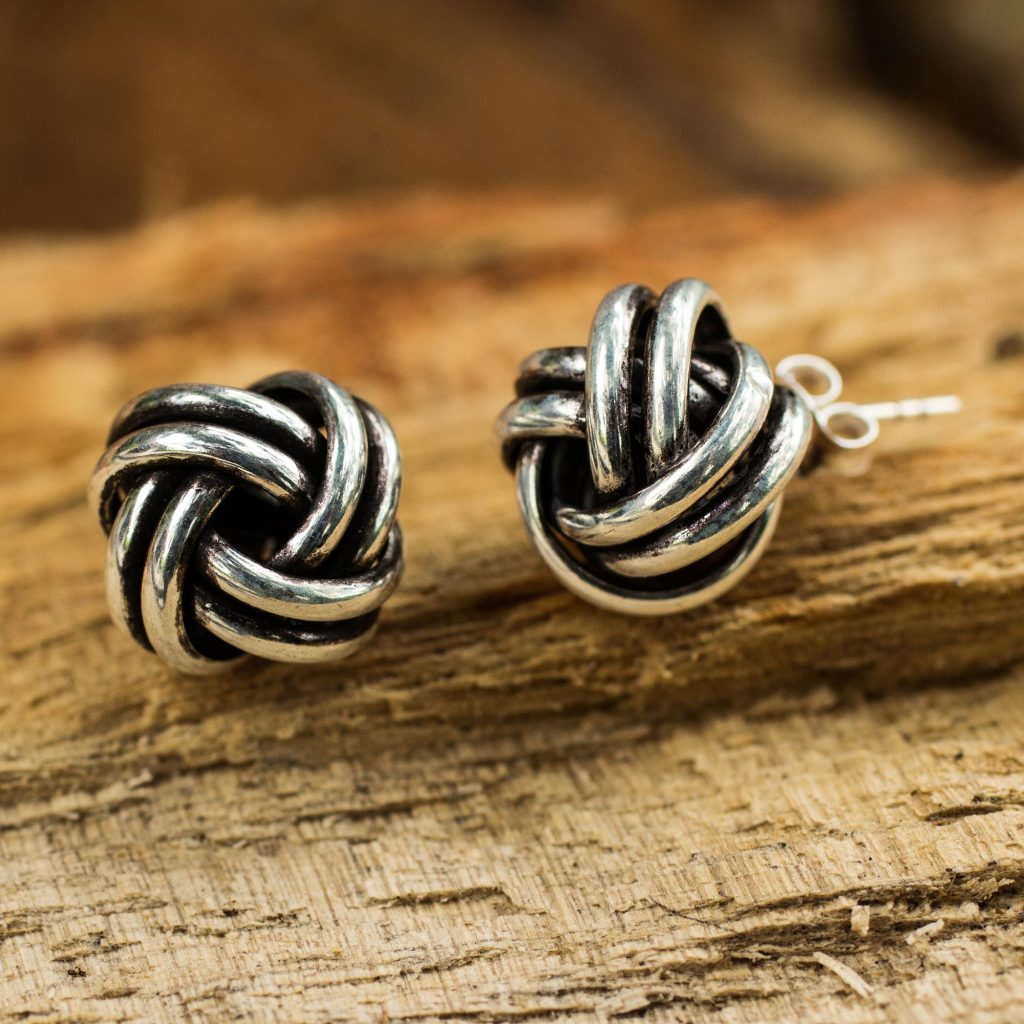 Artisan Crafted Oxidized Sterling Silver Stud Earrings, 'Double Love Knot'