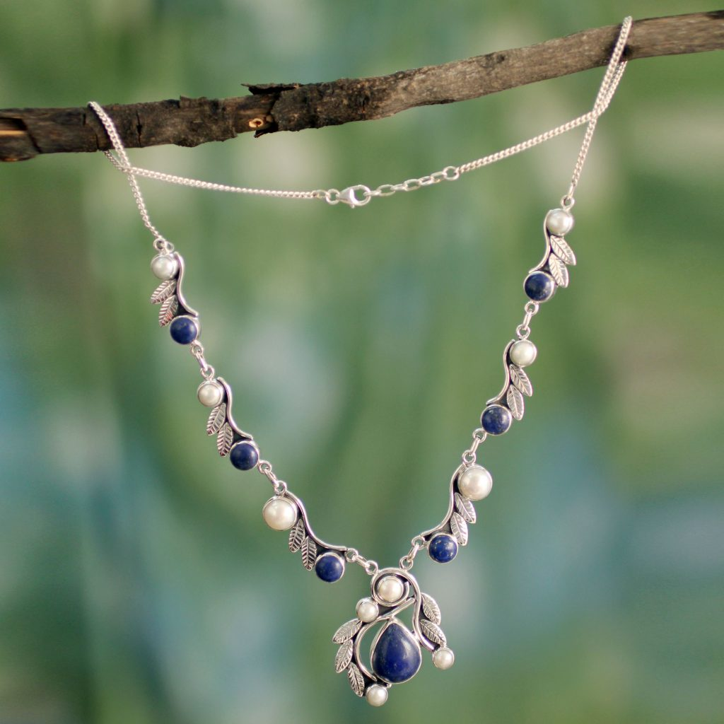 Pearl Lapis Lazuli and Sterling Silver Necklace from India, 'Tropical Fruit'