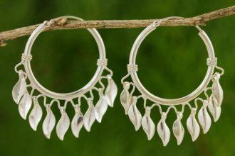 Handcrafted Sterling Silver Hoop Earrings, 'Leaves in the Wind'