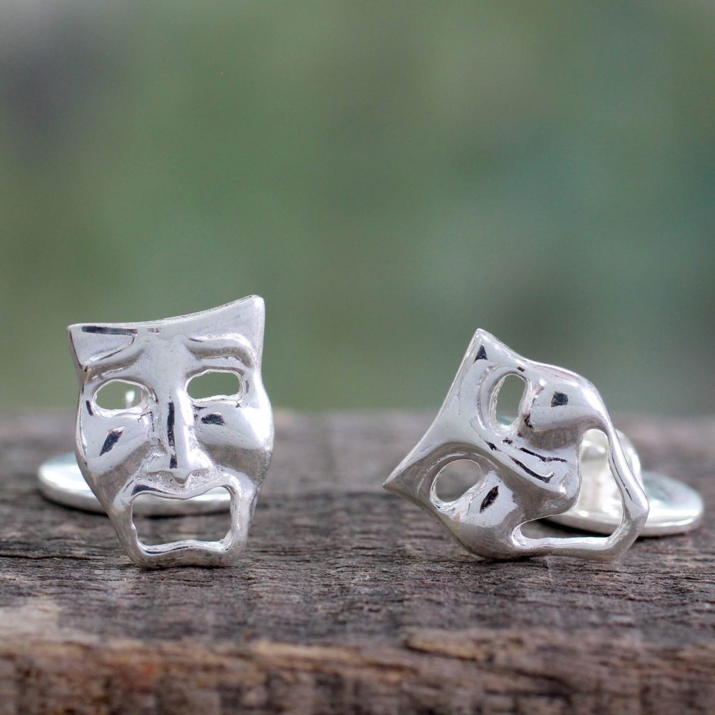 High Polished Sterling Silver Cufflinks, 'Comedy and Drama Masks'