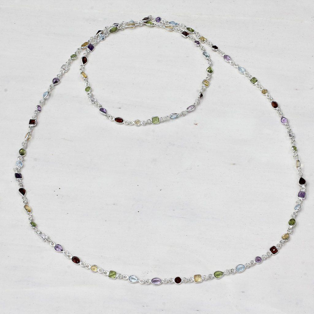 Multi-Gem Station Necklace Garnet Amethyst Citrine Ghana, 'Delightful Colors' Peridot NOVICA Fair Trade Quartz